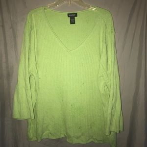 Avenue green ribbed v-neck sweater plus 26/28